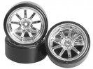 3RACING 1/10 On Road Car 9 Spoke Wheel & Tyre Set For Drift(7mm Offset) - WH-25/SI